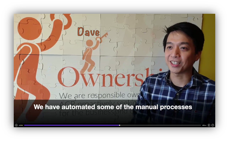 """Project Lead, Dave Duran, from ACR sharing about his team's experience with Gleematic. (ACR named the automation bot as """"Angela"""")"""